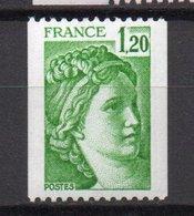 - FRANCE Variété N° 2103b ** - 1 F. 20 Vert Type Sabine 1980, Roulettes - SANS PHOSPHORE - Cote 30 EUR - - Variétés Et Curiosités