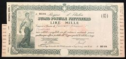 Buono Postale Fruttifero  1000 Lire Regio Decreto 26 12 1924 Legge 21 03 1926 Rilasciato 21 02 1946 Doc.005 - Azioni & Titoli