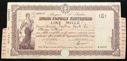 Buono Postale Fruttifero  1000 Lire Regio Decreto 26 12 1924 Legge 21 03 1926 Rilasciato 28 02 1940 Doc.006 - Azioni & Titoli