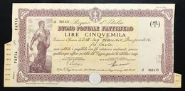 Buono Postale Fruttifero  5000 Lire Regio Decreto 26 12 1924 Legge 21 03 1926 Rilasciato 19 11 1940 Doc.007 - Azioni & Titoli