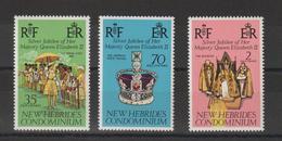 Nouvelles-Hébrides Légende Anglaise 1977 Elisabeth II 447-449 ** 3val. MNH - Nuevos