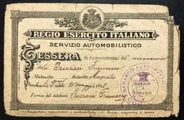 TESSERA REGIO ESERCITO ITALIANO-SERV. AUTOMOBILI-RICONOSCIMENTO MECCANICO 1918 C.2087 - [ 1] …-1946 : Regno