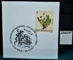 ZA0797 500J Reformation, Luther, Musiker Nach Olaf Osten, 1010 Wien AT 30.9.2017 - Poststempel - Freistempel