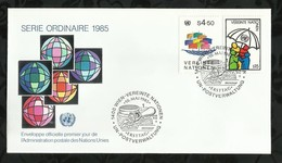NATIONS-UNIES . FDC . SERIE ORDINAIRE . 10 MAI 1985  . WIEN . - FDC
