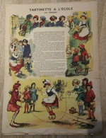 Grande Planche (genre Epinal)  TARTINETTE A L'ECOLE Illustrée Par POULBOT  , Offerte Par GRAF  (CAT 1344) - Publicités