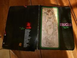 """Ancien Classeur A Pochette Avec Illustration """"La Rose"""" ,par MUCHA Extrait De Son œuvre """"Les 4 Fleurs"""" ) - Autres"""