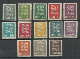 Estland Estonia 1928/1929 Michel 74 - 86 THIN PAPER Type Complete Set! * - Estonie