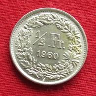 Switzerland 1/2 Franc 1960 KM# 23 Silver Suiça Suisse Svizzera Schweiz Suiza - Switzerland