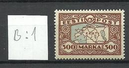 Estland Estonia 1924 Michel 54 B: 1 Color Variety * - Estonie