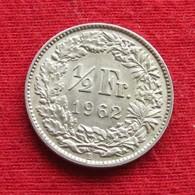 Switzerland 1/2 Franc 1962 KM# 23 Silver Suiça Suisse Svizzera Schweiz Suiza - Switzerland