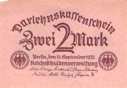 2 Mark Darlehenskassenschein 1922 - [ 3] 1918-1933: Weimarrepubliek