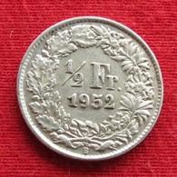 Switzerland 1/2 Franc 1952 KM# 23 Silver Suiça Suisse Svizzera Schweiz Suiza - Switzerland