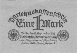 1 Mark Darlehenskassenschein 1922 - Bestuur Voor Schulden
