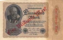 1 Milliarde Mark Überdruckprovisorium 1922 Reichsbanbknote - [ 3] 1918-1933 : Repubblica  Di Weimar