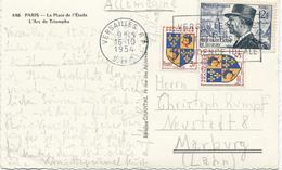 CARTE POSTALE POUR L'ALLEMAGNE 1954 AVEC 3 TIMBRES TYPES BLASON DAUPHINE / DE LATTRE - Postmark Collection (Covers)
