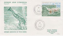 TAAF 1989 Plongée Autonome En Terre Adelie 1v FDC Ca Dumont D4urville T. Adelie (41976) - FDC