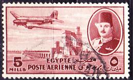 Ägypten - Flugzeug Vom Typ Dakota über Nilstaudamm (Mi.Nr.: 307) 1947 - Gest Used Obl. - Poste Aérienne