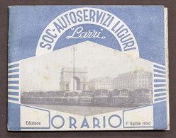 Trasporti Autobus - Società Autoservizi Liguri Lazzi - Orario - 1 Aprile 1950 - Books, Magazines, Comics
