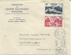 LETTRE POUR L'ALLEMAGNE 1952 AVEC 2 TIMBRES NATIONS UNIES PALAIS DE CHAILLOT - 1921-1960: Moderne