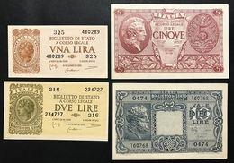 LUOGOTENENZA 1944 1+2+5+10 LIRE 4 BIGLIETTI SUP/FDS  Lotto.435 - [ 1] …-1946 : Koninkrijk