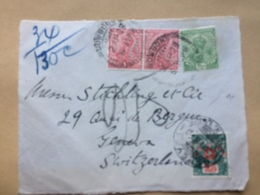 INDIA Front Of George V Cover 1929 Nowgong To Geneva With Postage Due Stamp - Indien (...-1947)