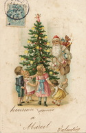 Santa Claus Pere Noel Robe Blanche Dessin Sapin Jouets Enfants - Santa Claus