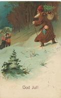 Santa Claus Pere Noel Robe Marron Dessin   God Jul  Embossed Gaufrée Suede - Santa Claus