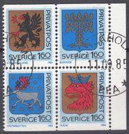 SVERIGE - SVEZIA - 1984 - Porzione Di Carnet Contenente 4 Valori Obliterati Uniti Fra Loro: Yvert 1260/1263. - Gebraucht