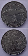 COMORES COMORRE  5 FRANCS 1992 FISH PESCE FDC. - Komoren