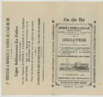 Indicateur Horaire Des Bateaux à Vapeur De L'Ile De Ré . 3e Trimestre 1924 . - Europe