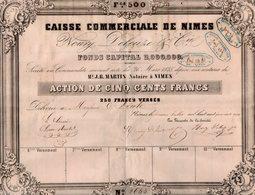 VP14.602 - 1847 - Action De La Caisse Commerciale De NIMES - Mrs NOURY , DELEUZE & Cie - Actions & Titres