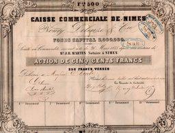 VP14.603 - 1847 - Action De La Caisse Commerciale De NIMES - Mrs NOURY , DELEUZE & Cie - Actions & Titres