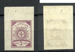 LATVIA Lettland 1919 Michel 15 Senkrecht Geriffeltes Papier/vertically Ribbed Paper MNH Bogenecke - Lettland
