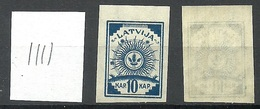 LATVIA Lettland 1919 Michel 17 Senkrecht Geriffeltes Papier/vertically Ribbed Paper MNH - Lettland