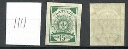 LATVIA Lettland 1919 Michel 18 Senkrecht Geriffeltes Papier/vertically Ribbed Paper MNH - Lettland