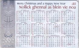 Isle Of Man, MAN 182, 2002 Calendar, Christmas, Mint In Blister, 2 Scans. - Isla De Man