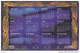Isle Of Man, MAN 168, £5, 2001 Calendar, Mint In Blister, 2 Scans. - Isla De Man