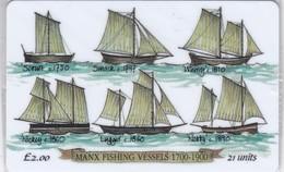 Isle Of Man, MAN 079,  2 £, Manx Fishing Vessels, Ships, Mint In Blister, 2 Scans. - Isla De Man