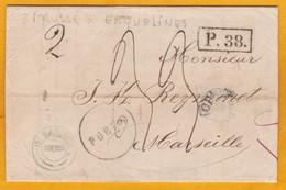 1866 - Lettre Avec Correspondance En Français D' Odessa, Empire Russe (auj. Ukraine) Vers Marseille, France - AVOINE - 1857-1916 Imperium