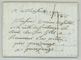 Longue LàC 1788 De Nantes Pour Vexiau Conseiller De La Ville De Fontenay-le-Comte à Réaumur Par Pouzauges . Vendée . - Marcophilie (Lettres)