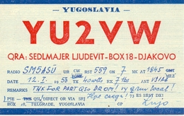 QSL Kaart Carte - Radio - YU2VW - Yugoslavia - QRA Sedlmajer Ljudevit - Djakovo - 1958 - Cartes QSL