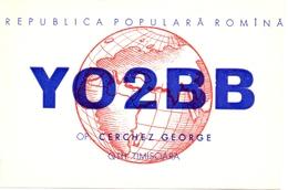 QSL Kaart Carte - Radio - YO2BB - Cerchez George - QTH Timisoara - Romina - Roemenie 1957 - Cartes QSL