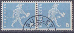 Tp CH De 1960 5c Messager De Fribourg Oblitéré Bullet Canton De Vaud En Paire - Used Stamps