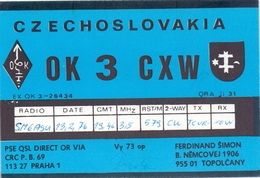 QSL Kaart Carte - Radio - OK 3 CXW - Czechoslovakia - Ferdinand Simon Topolcany - Praha 1976 - Cartes QSL