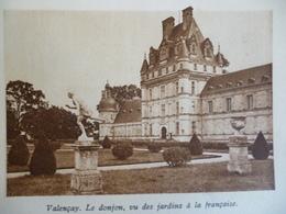 Touraine , Bords De Loire , Chateau De Valençay , Donjon Vu Des Jardins A La Française , Héliogravure Cépia Marron 1929 - Documents Historiques