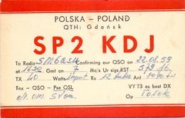 QSL Kaart Carte - Radio - SP2KDJ - QTH Gdansk - Polska Poland 1976 - Cartes QSL