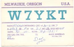 QSL Kaart Carte - Radio - W7YKT - PSE - Dave Bertman Milwaukie Oregen USA 1957 - Cartes QSL