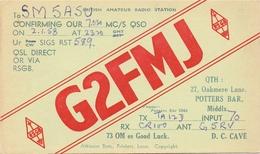 QSL Kaart Carte - Radio - G2FMJ - QTH Potters Bar Middlx 1958 - Cartes QSL