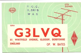 QSL Kaart Carte - Radio - G3LVQ - W. Bates - Glossop Derbyshire England 1959 - Cartes QSL