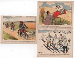 CHROMO RICQLES Lot De 3 Sports Cyclisme Aviation Ski Litho Dessin Illustrateur Guillaume - Trade Cards